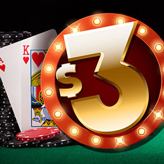 Blackjack hand with $3 marquee