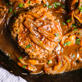Hamburger Steak with Grilled Onions and Brown Gravy