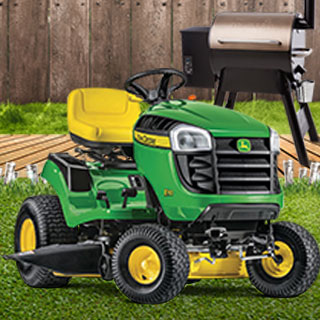 John Deer Mower and Trager Grill